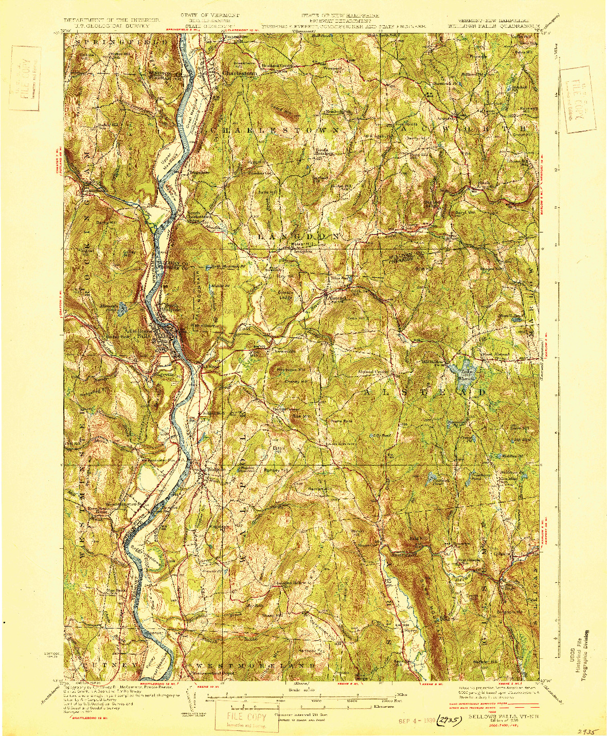 USGS 1:62500-SCALE QUADRANGLE FOR BELLOWS FALLS, VT 1930