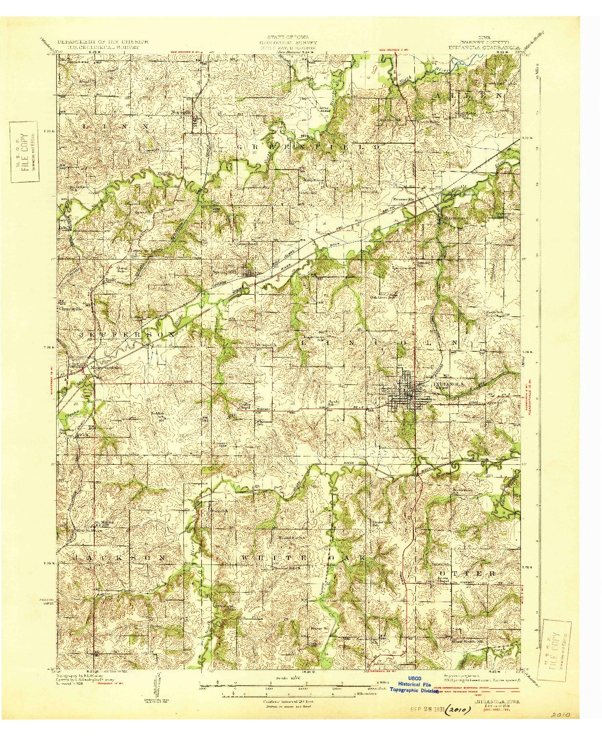 USGS 1:62500-SCALE QUADRANGLE FOR INDIANOLA, IA 1931