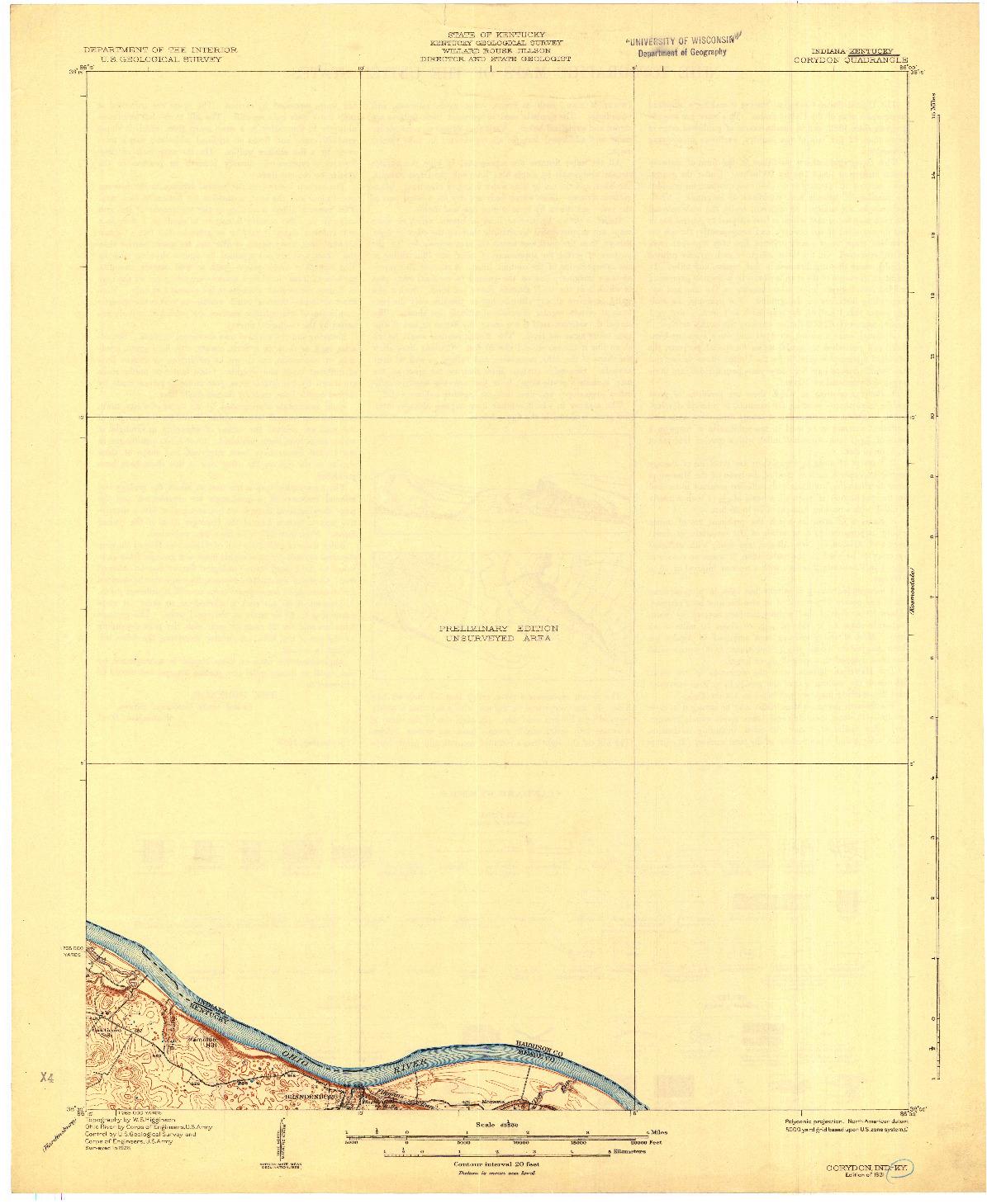 USGS 1:62500-SCALE QUADRANGLE FOR CORYDON, IN 1931