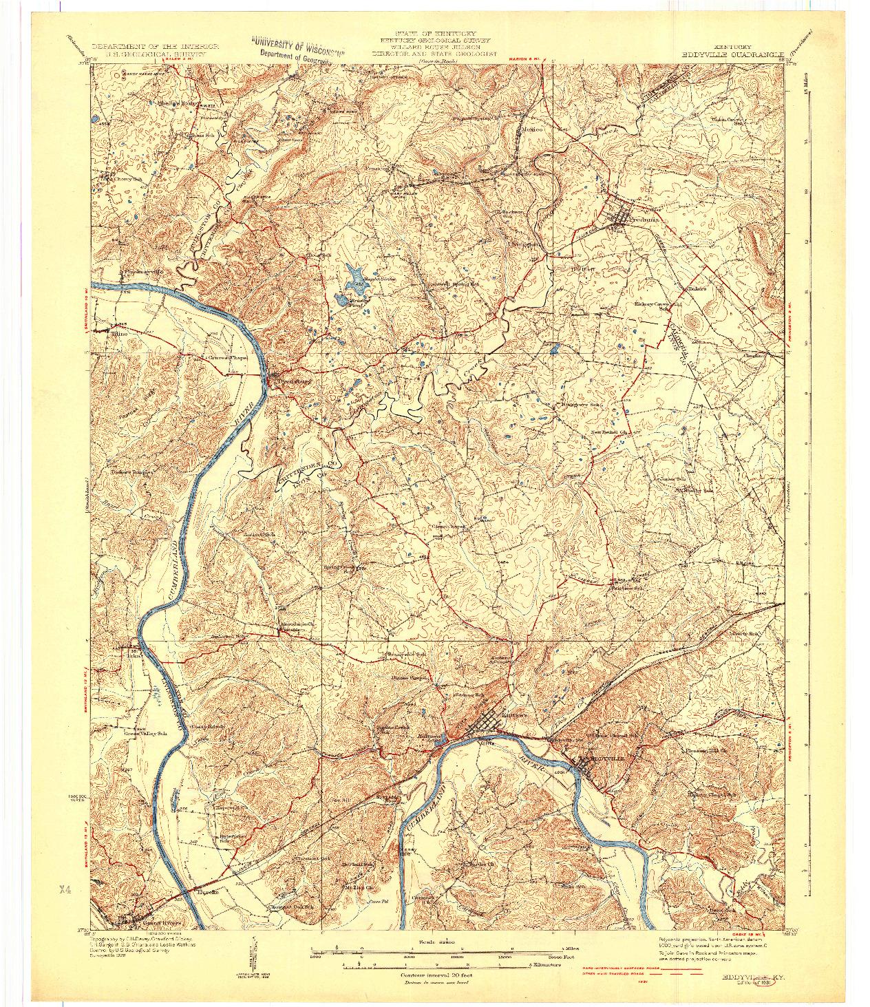 USGS 1:62500-SCALE QUADRANGLE FOR EDDYVILLE, KY 1931