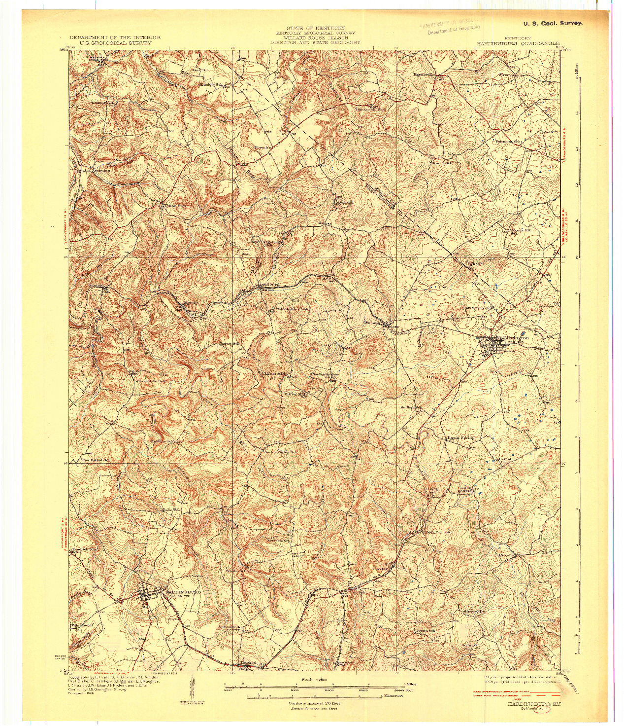 USGS 1:62500-SCALE QUADRANGLE FOR HARDINSBURG, KY 1931
