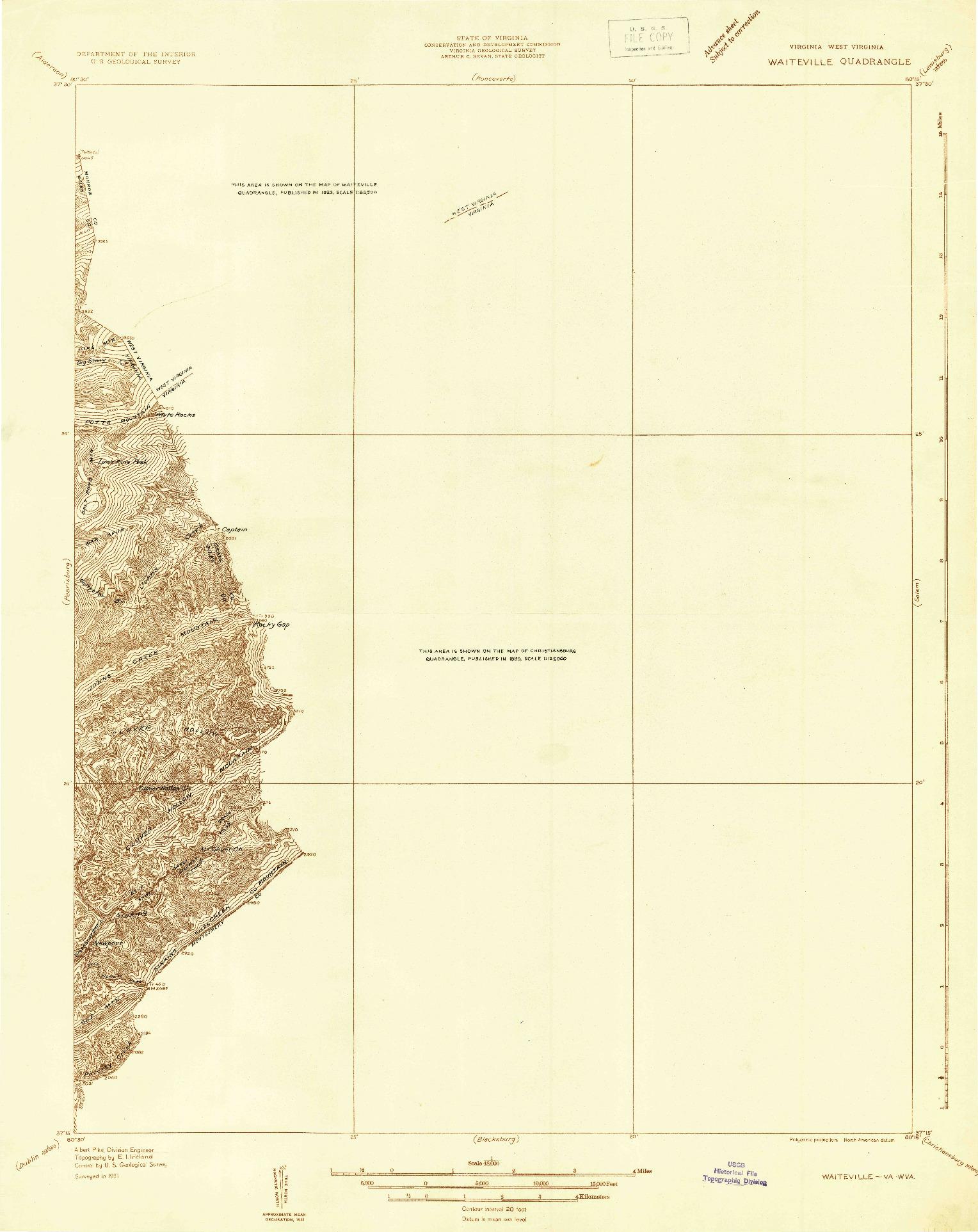 USGS 1:48000-SCALE QUADRANGLE FOR WAITEVILLE, VA 1931