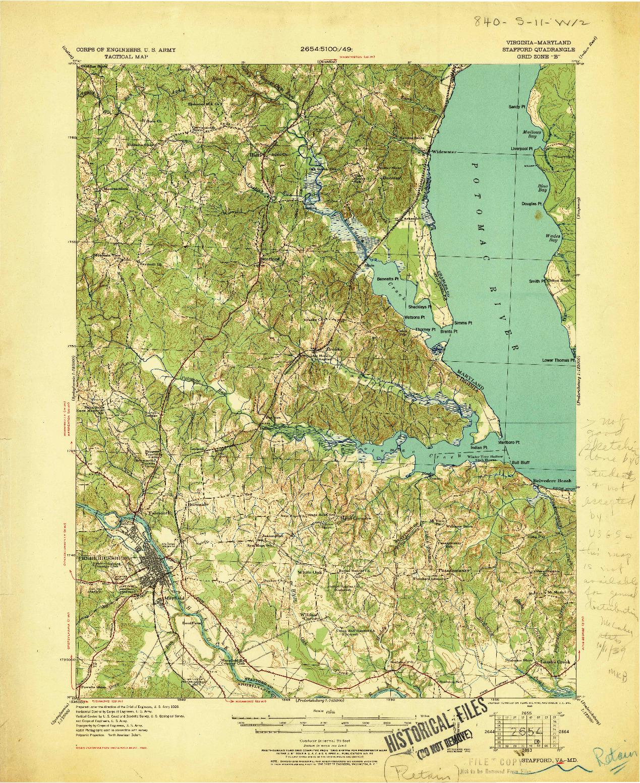 USGS 1:62500-SCALE QUADRANGLE FOR STAFFORD, VA 1931