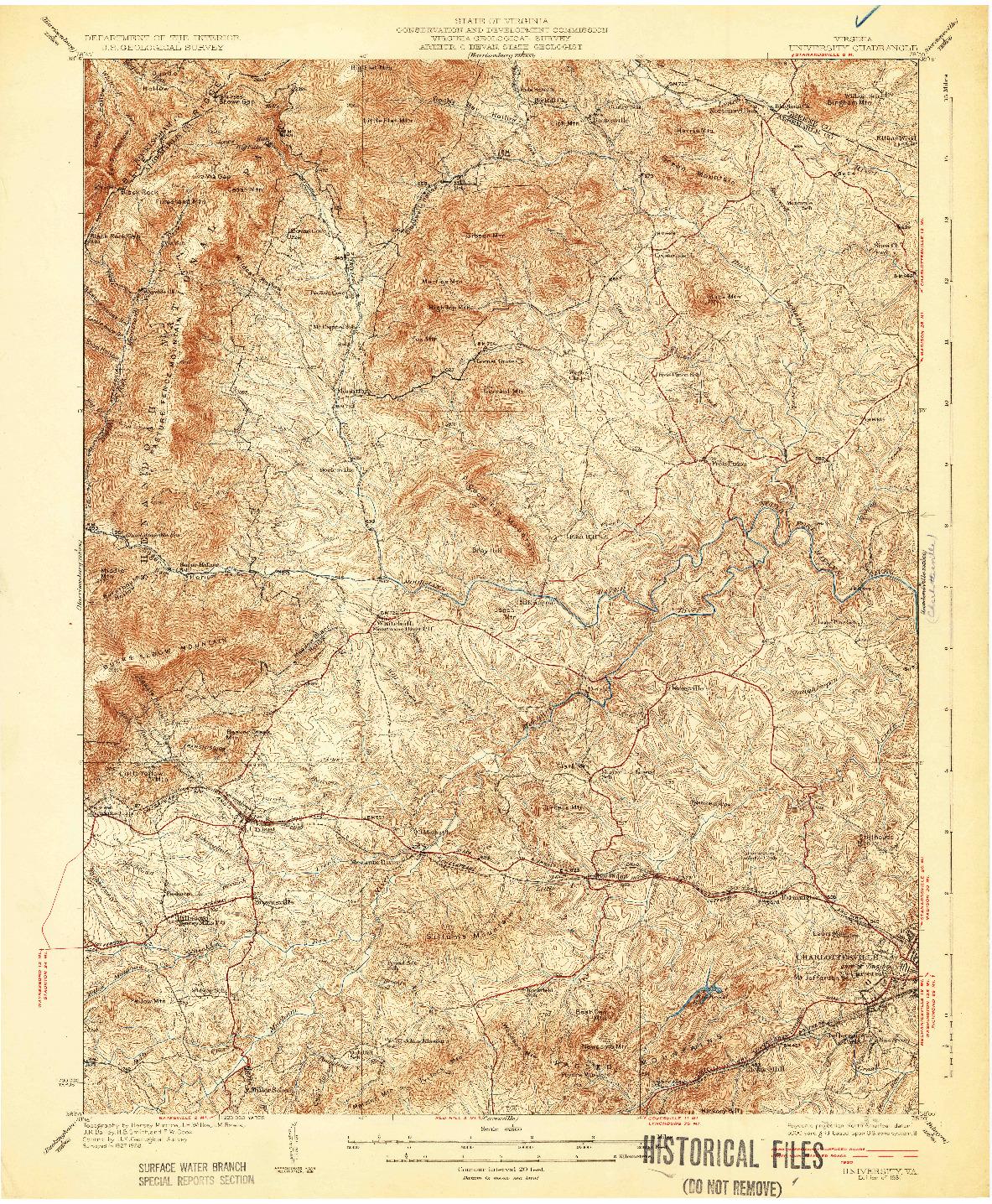 USGS 1:62500-SCALE QUADRANGLE FOR UNIVERSITY, VA 1931