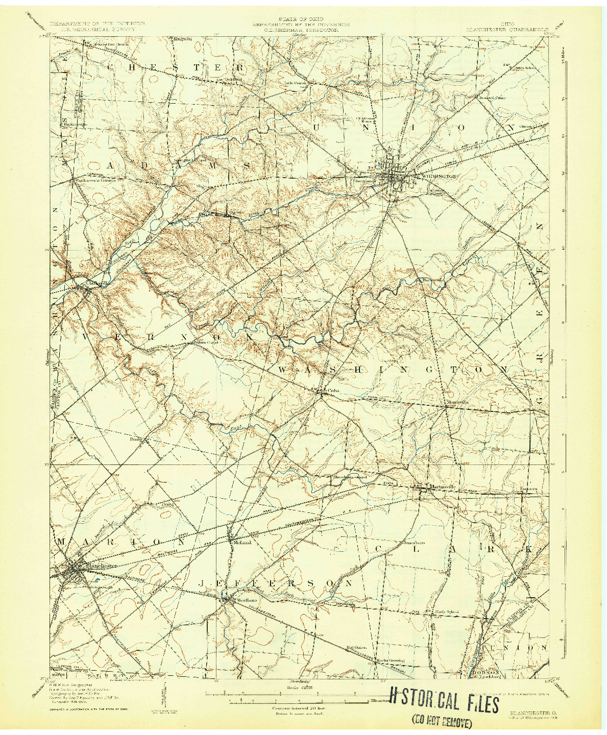 USGS 1:62500-SCALE QUADRANGLE FOR BLANCHESTER, OH 1907