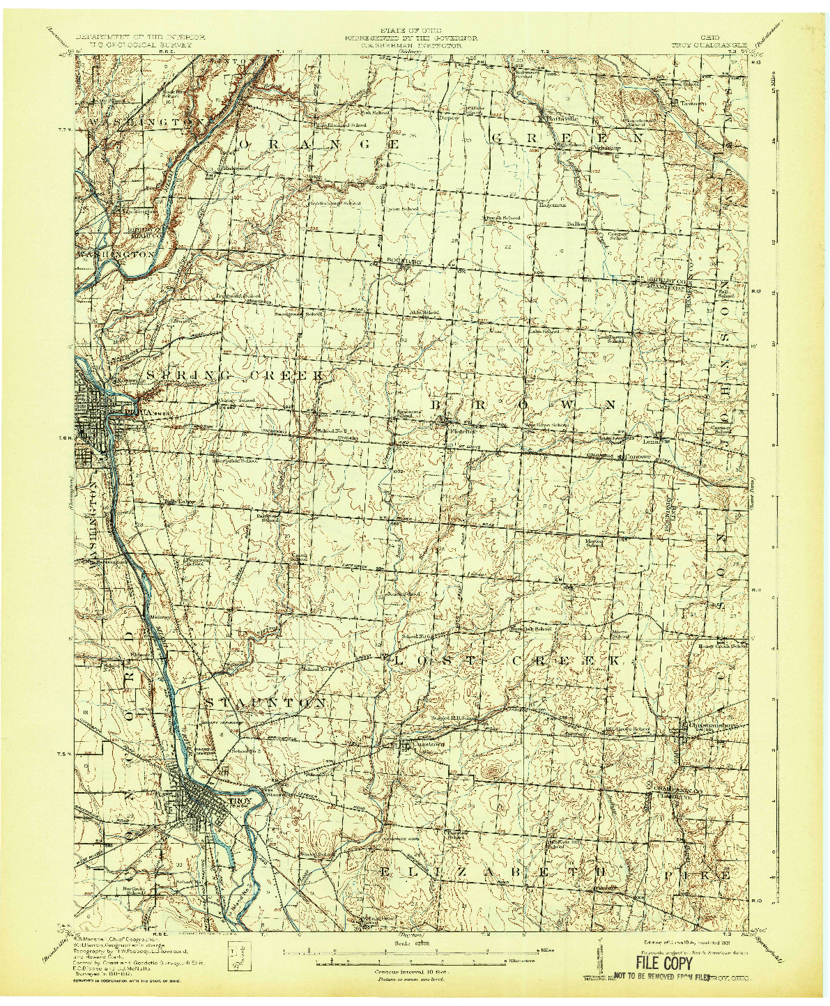 USGS 1:62500-SCALE QUADRANGLE FOR TROY, OH 1914