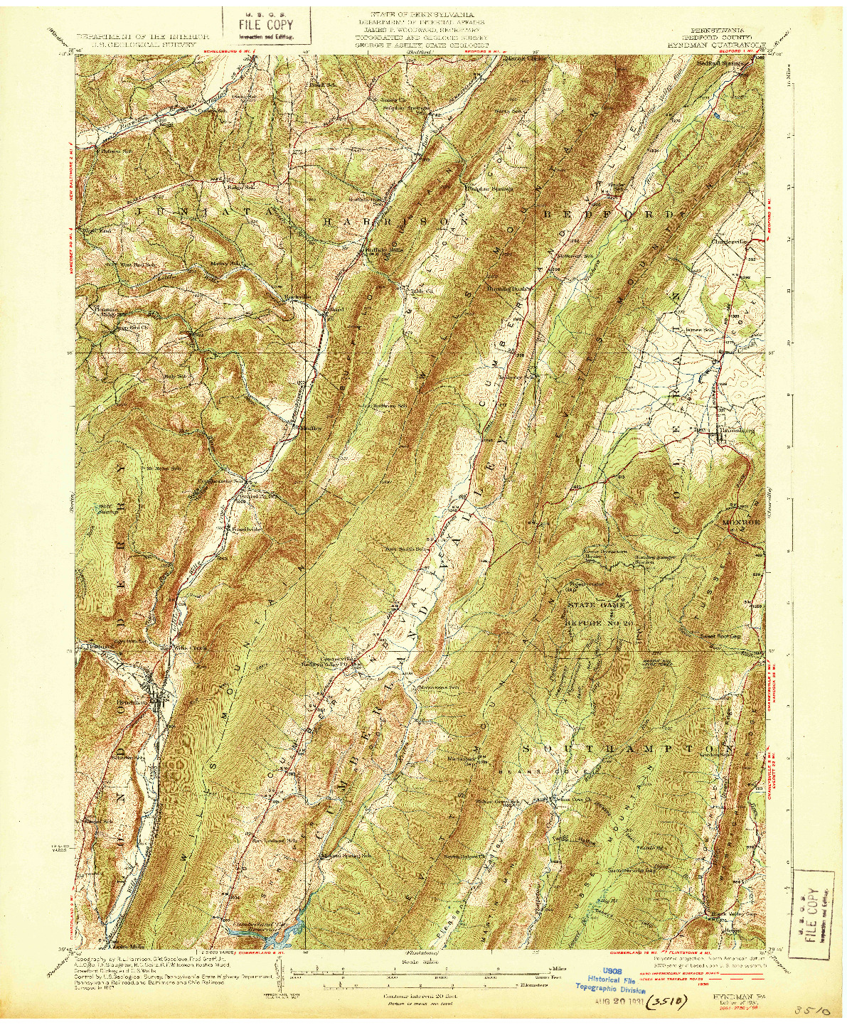 USGS 1:62500-SCALE QUADRANGLE FOR HYNDMAN, PA 1931