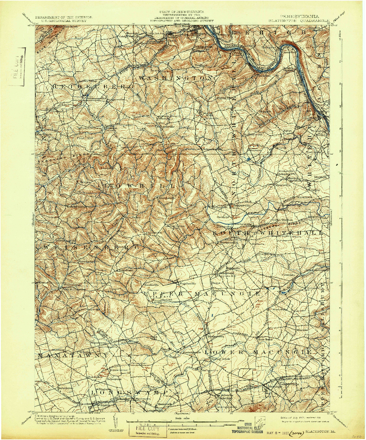 USGS 1:62500-SCALE QUADRANGLE FOR SLATINGTON, PA 1902