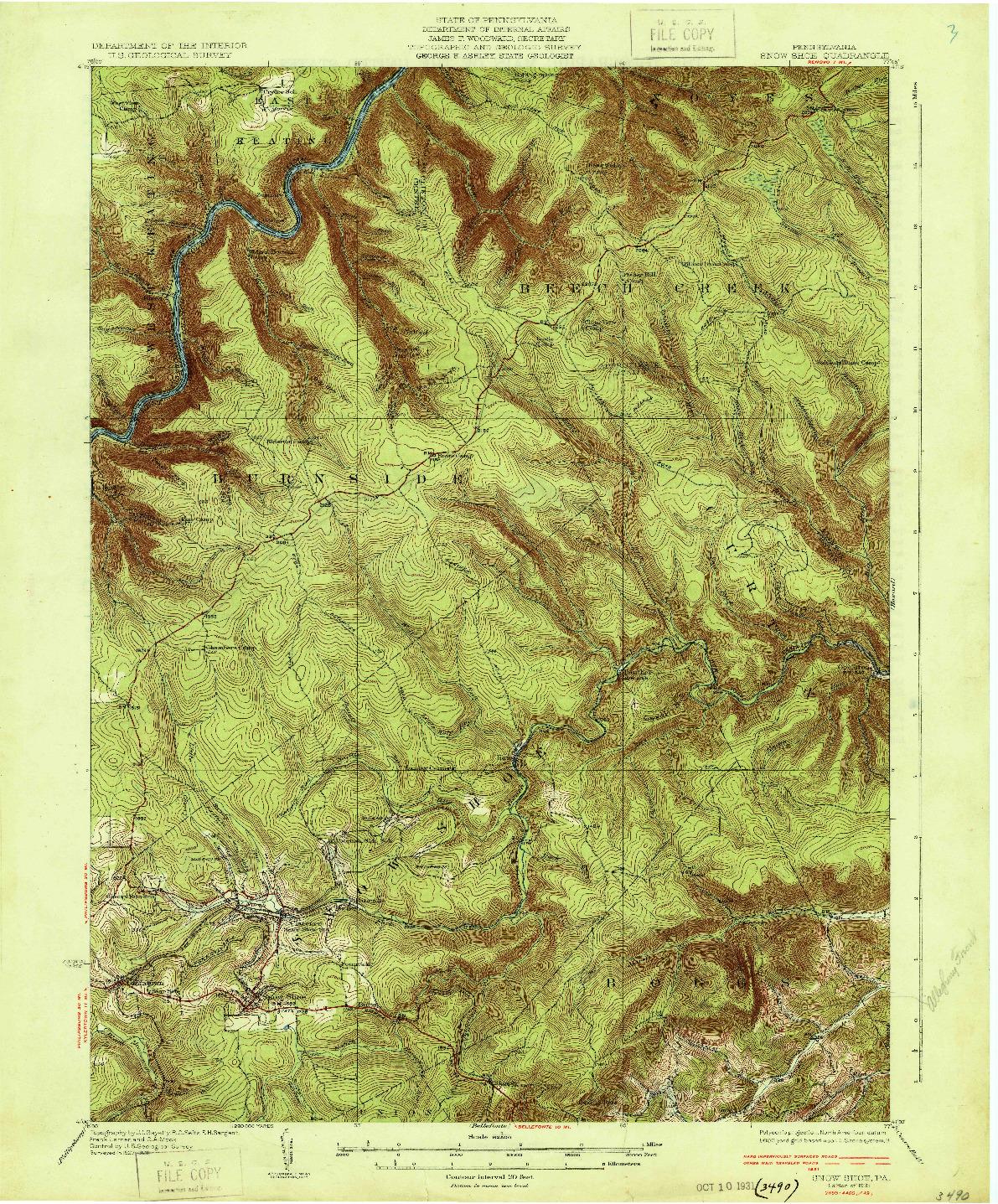 USGS 1:62500-SCALE QUADRANGLE FOR SNOW SHOE, PA 1931
