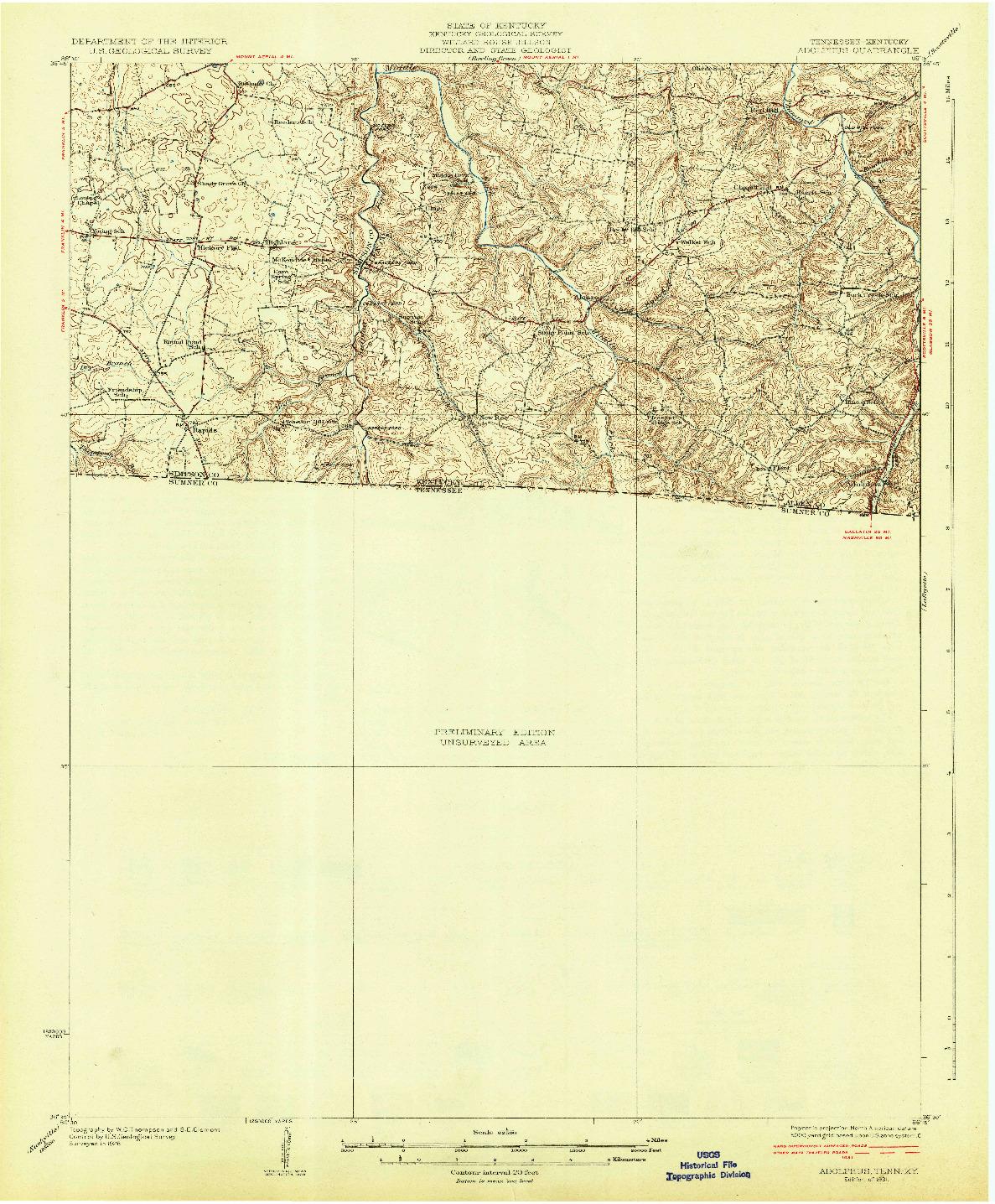 USGS 1:62500-SCALE QUADRANGLE FOR ADOLPHUS, TN 1931
