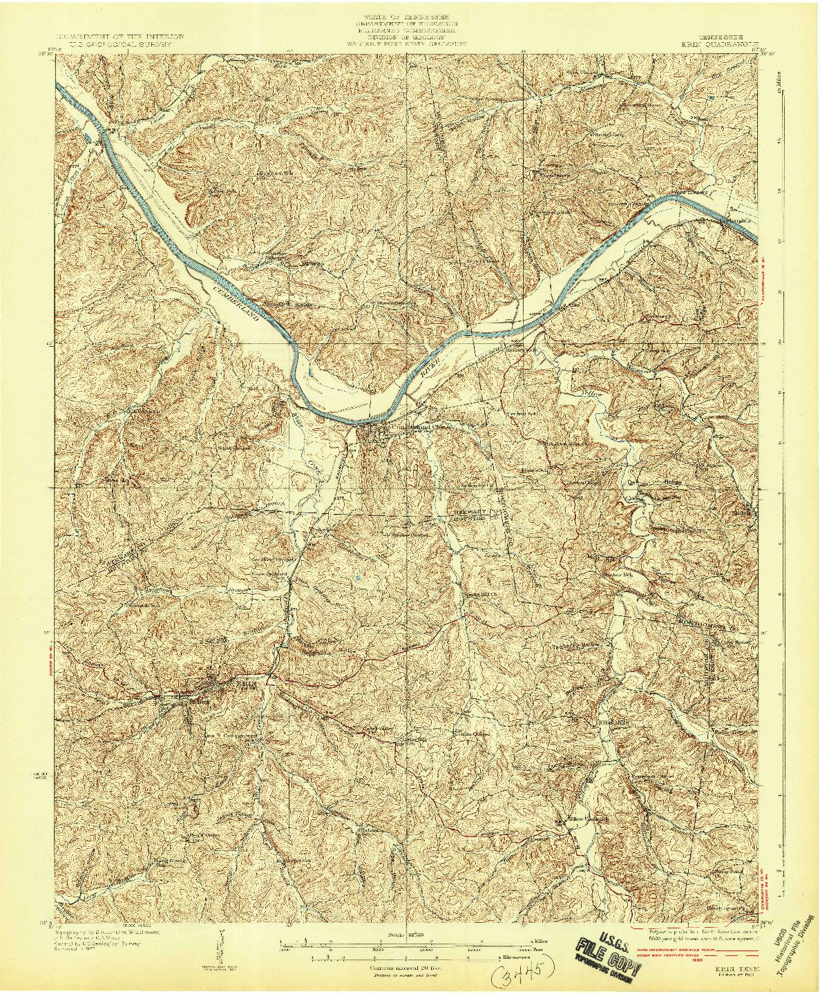 USGS 1:62500-SCALE QUADRANGLE FOR ERIN, TN 1931