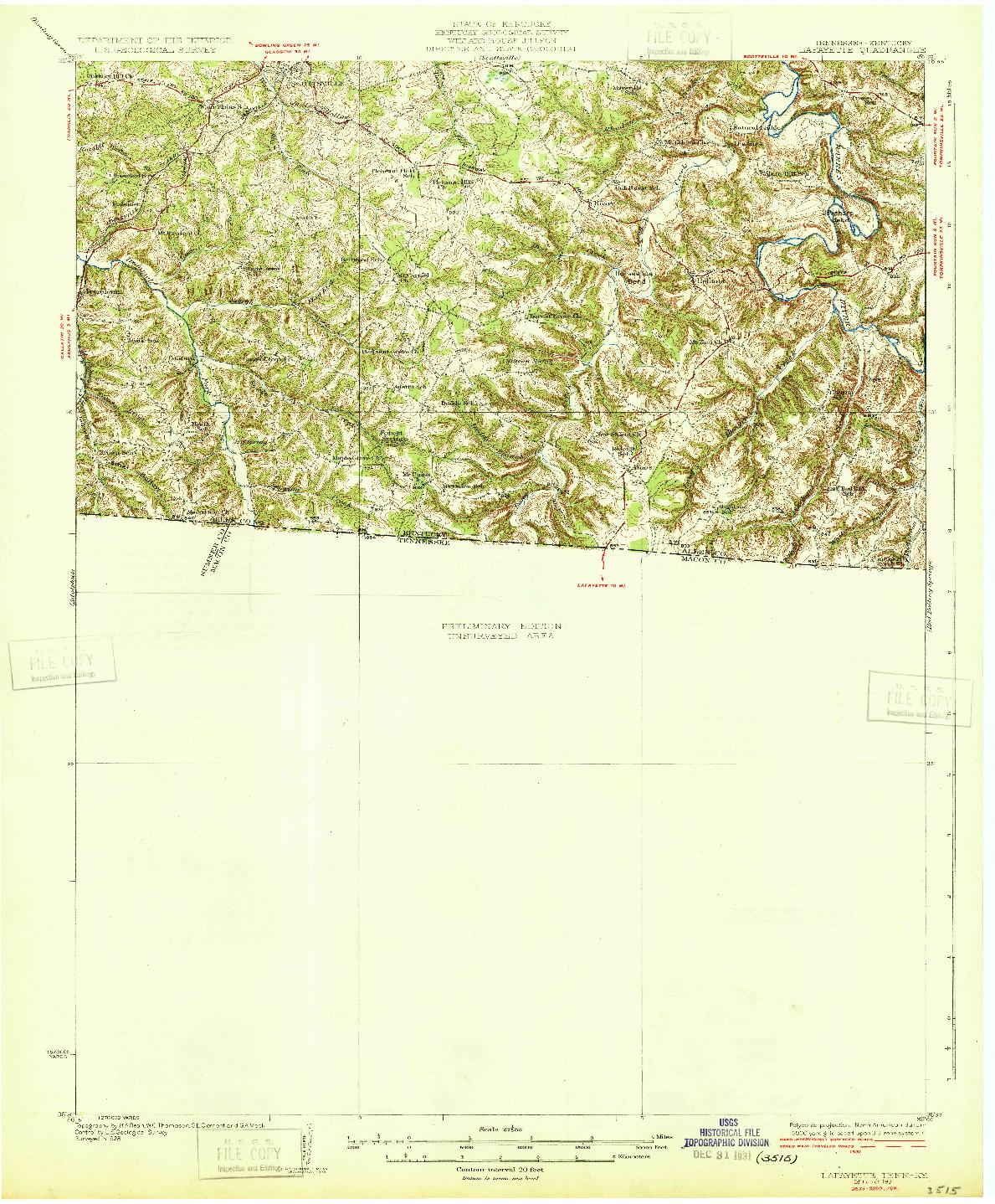 USGS 1:62500-SCALE QUADRANGLE FOR LAFAYETTE, TN 1931