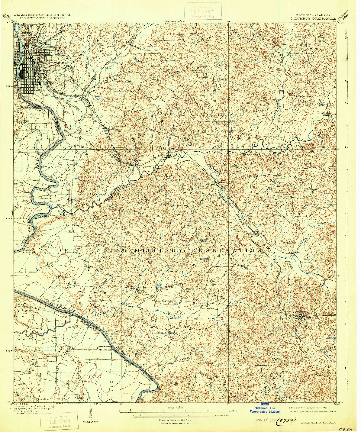 USGS 1:62500-SCALE QUADRANGLE FOR COLUMBUS, GA 1908