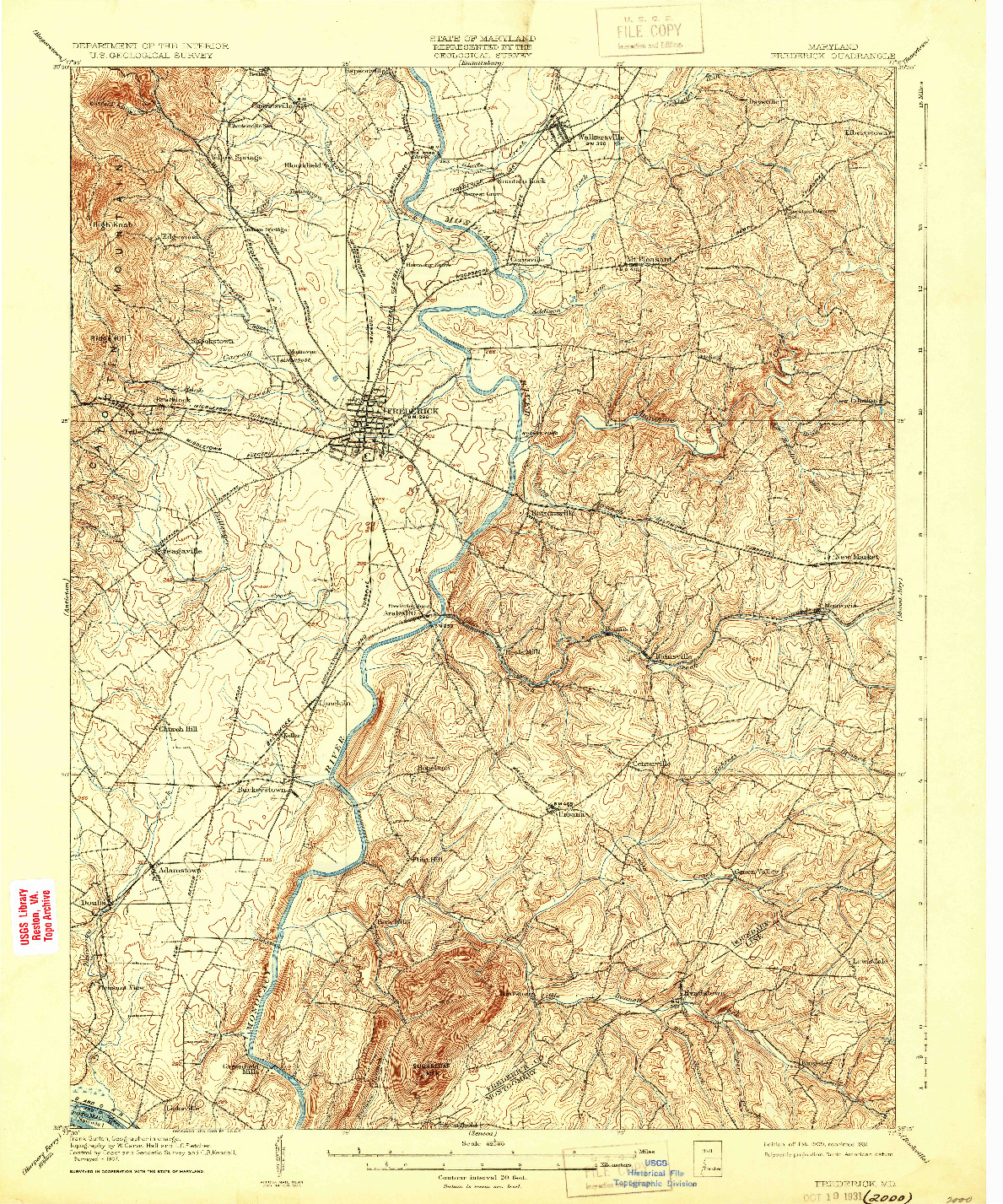 USGS 1:62500-SCALE QUADRANGLE FOR FREDERICK, MD 1909