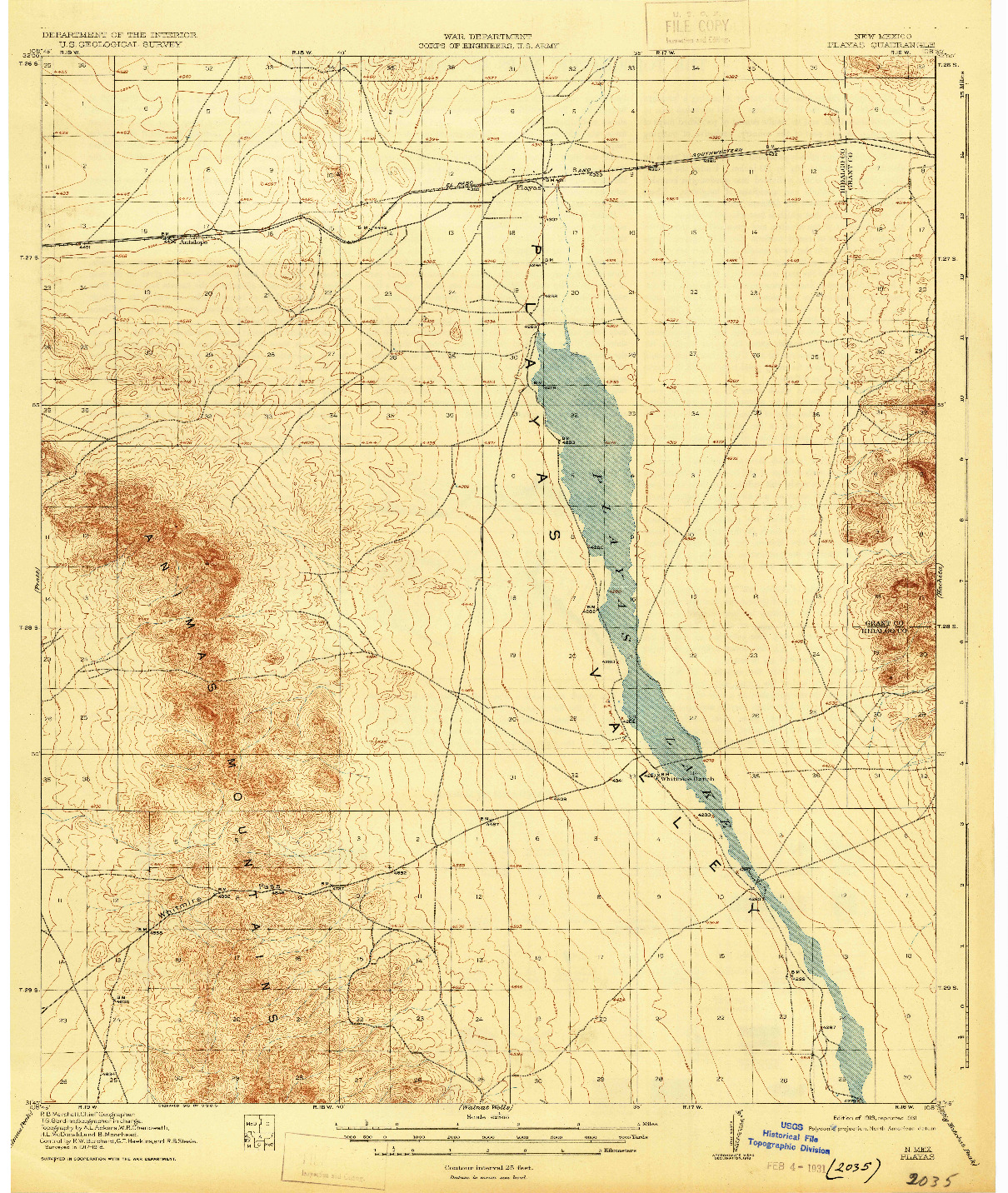 USGS 1:62500-SCALE QUADRANGLE FOR PLAYAS, NM 1919