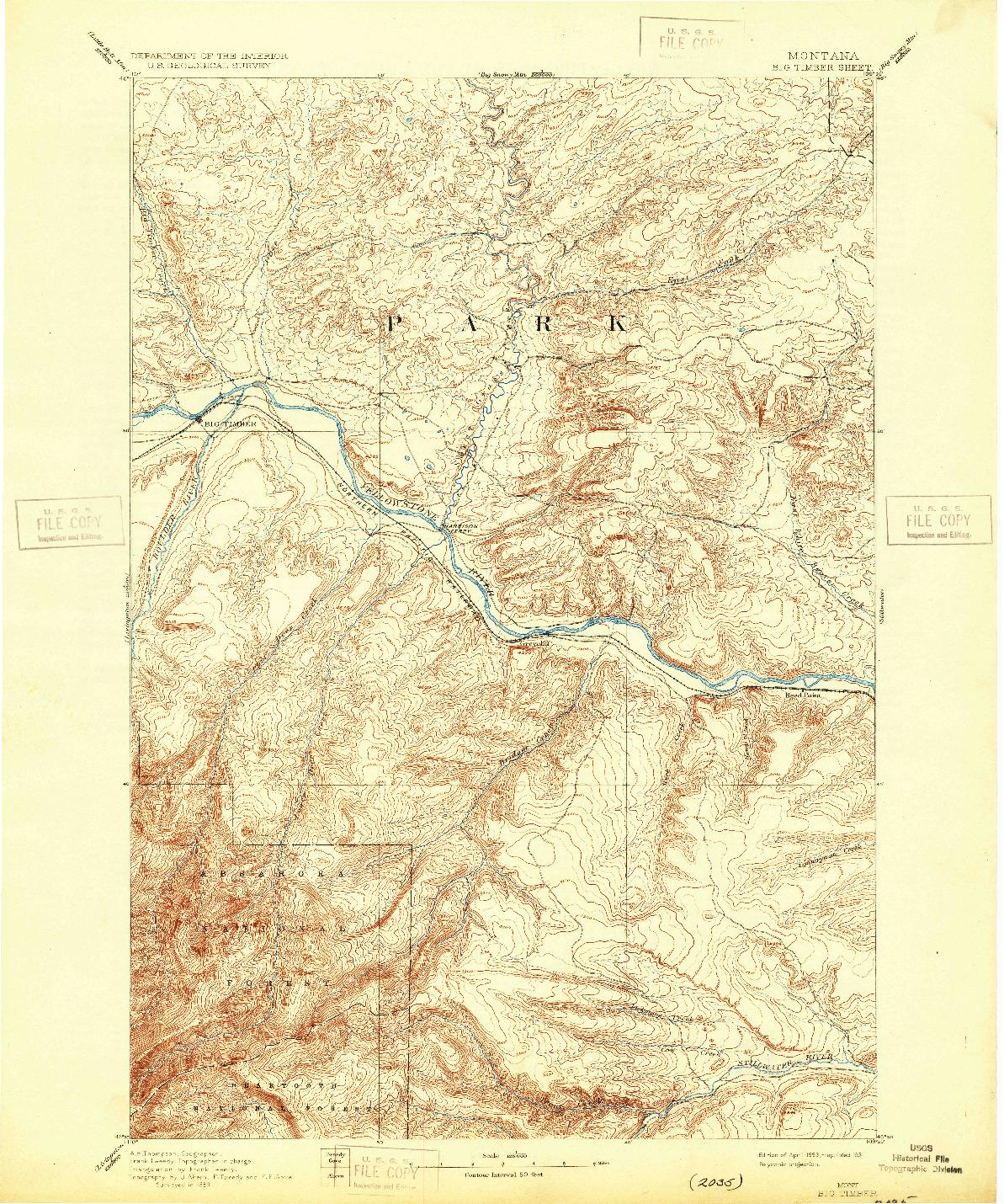 USGS 1:125000-SCALE QUADRANGLE FOR BIG TIMBER, MT 1893