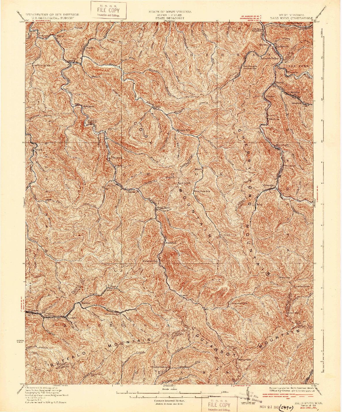 USGS 1:62500-SCALE QUADRANGLE FOR BALD KNOB, WV 1931