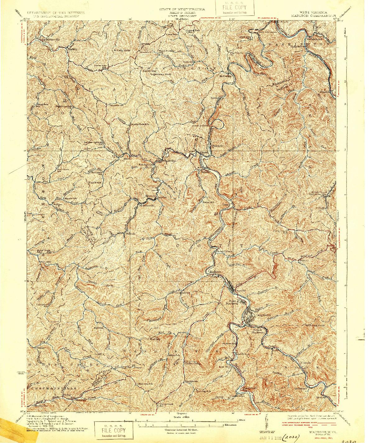 USGS 1:62500-SCALE QUADRANGLE FOR MADISON, WV 1931