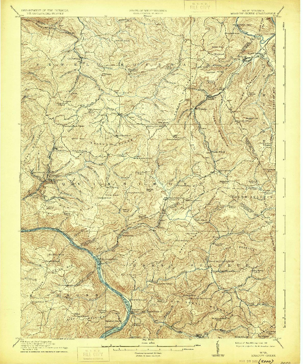 USGS 1:62500-SCALE QUADRANGLE FOR MEADOW CREEK, WV 1915