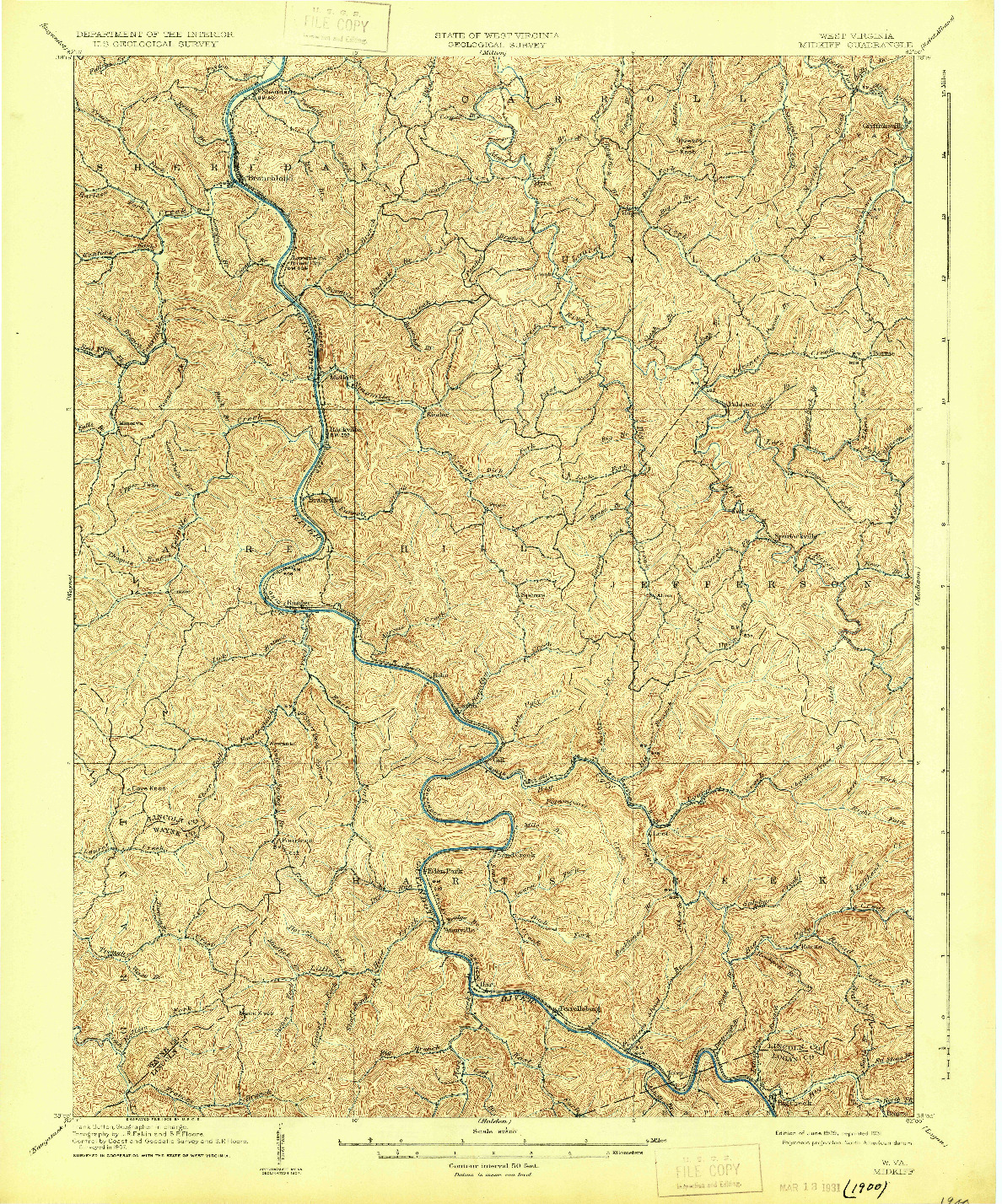 USGS 1:62500-SCALE QUADRANGLE FOR MIDKIFF, WV 1909