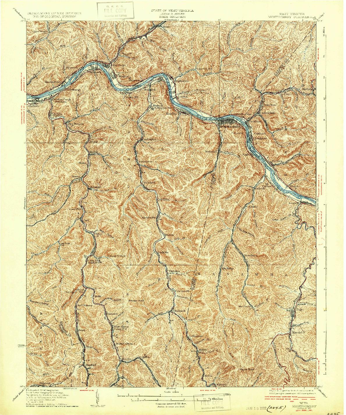 USGS 1:62500-SCALE QUADRANGLE FOR MONTGOMERY, WV 1931