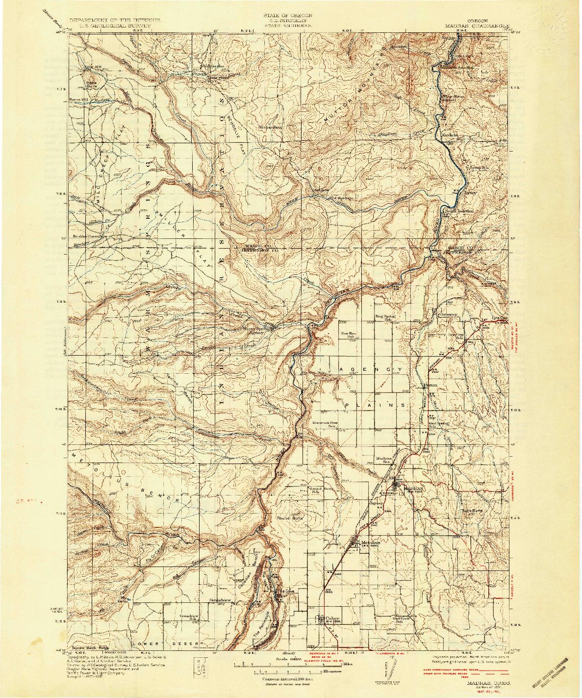 USGS 1:125000-SCALE QUADRANGLE FOR MADRAS, OR 1931