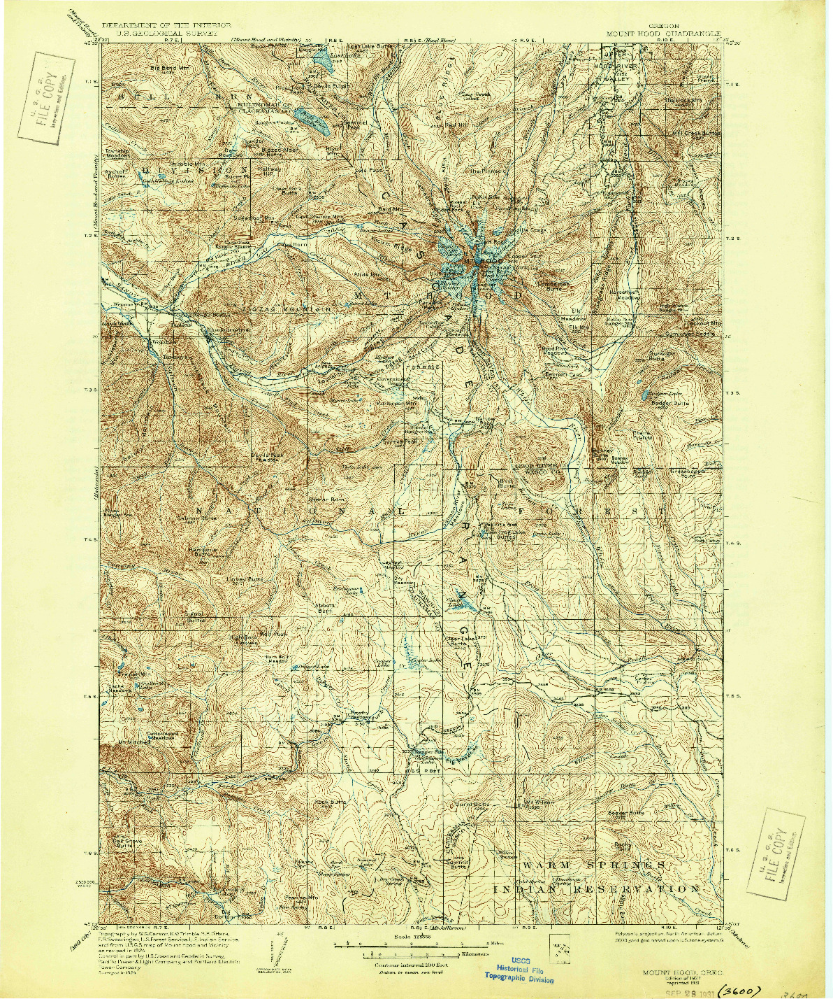 USGS 1:125000-SCALE QUADRANGLE FOR MOUNT HOOD, OR 1927
