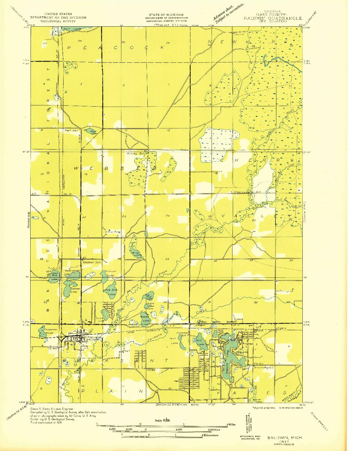 USGS 1:31680-SCALE QUADRANGLE FOR BALDWIN NE, MI 1931