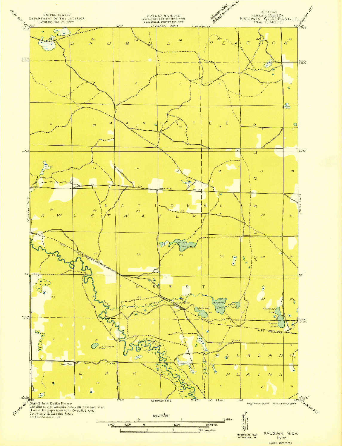USGS 1:31680-SCALE QUADRANGLE FOR BALDWIN NW, MI 1931