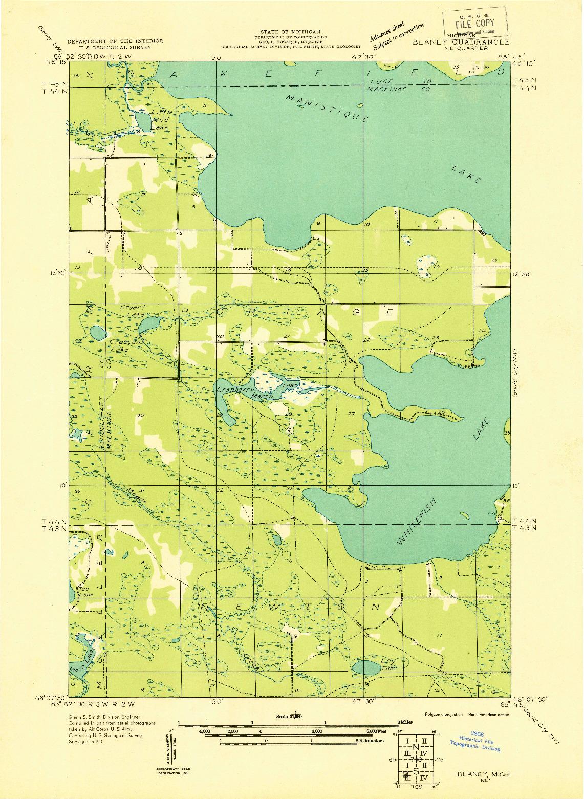 USGS 1:31680-SCALE QUADRANGLE FOR BLANEY NE, MI 1931