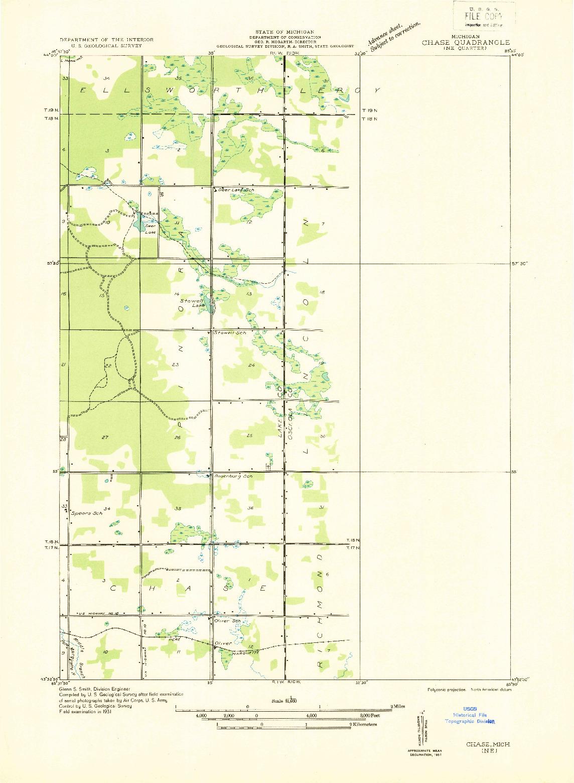 USGS 1:31680-SCALE QUADRANGLE FOR CHASE NE, MI 1931