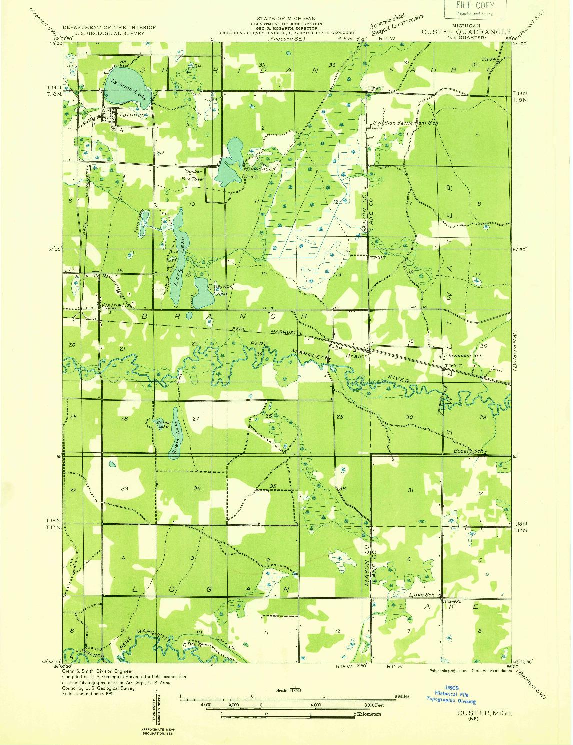 USGS 1:31680-SCALE QUADRANGLE FOR CUSTER NE, MI 1931