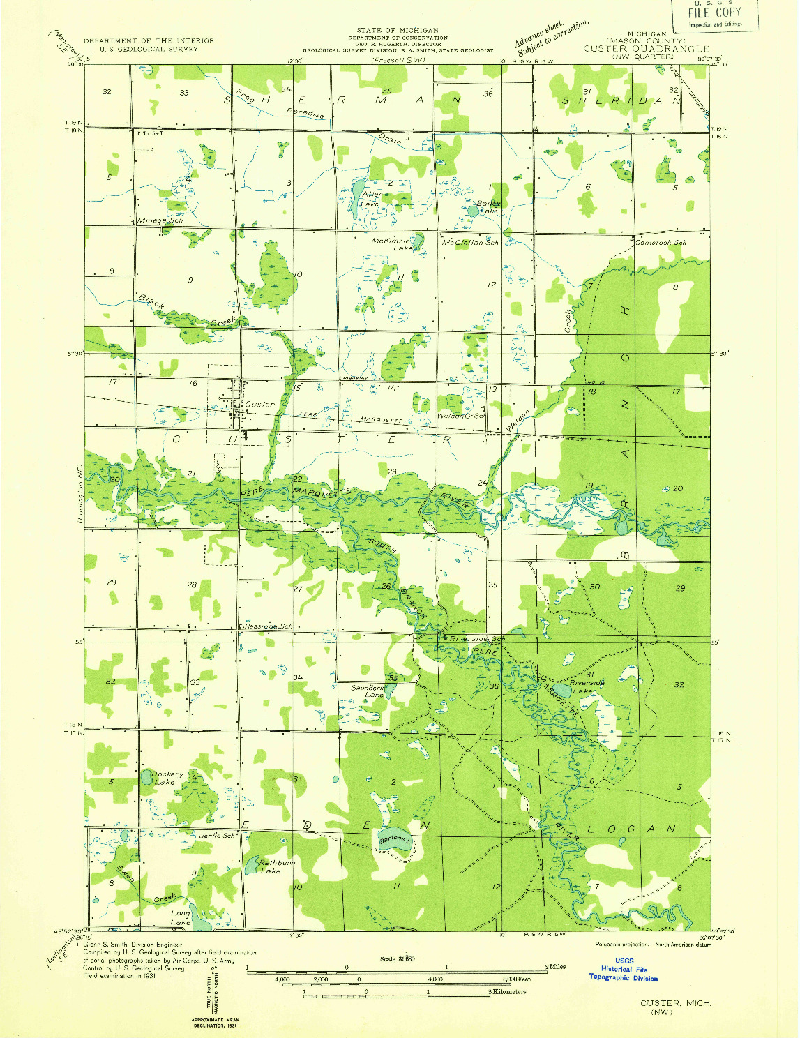 USGS 1:31680-SCALE QUADRANGLE FOR CUSTER NW, MI 1931