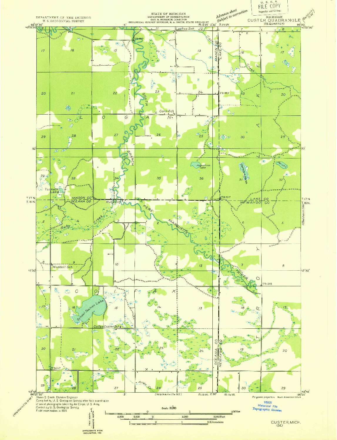 USGS 1:31680-SCALE QUADRANGLE FOR CUSTER SE, MI 1931