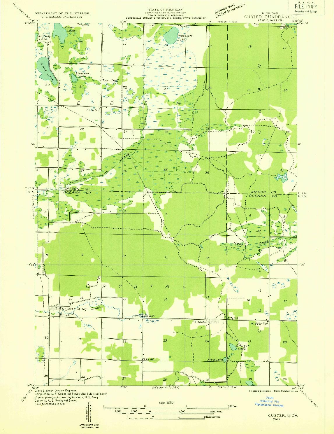 USGS 1:31680-SCALE QUADRANGLE FOR CUSTER SW, MI 1931