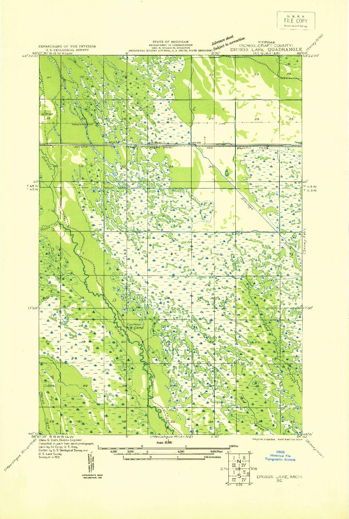 USGS 1:31680-SCALE QUADRANGLE FOR DRIGGS LAKE SE, MI 1931