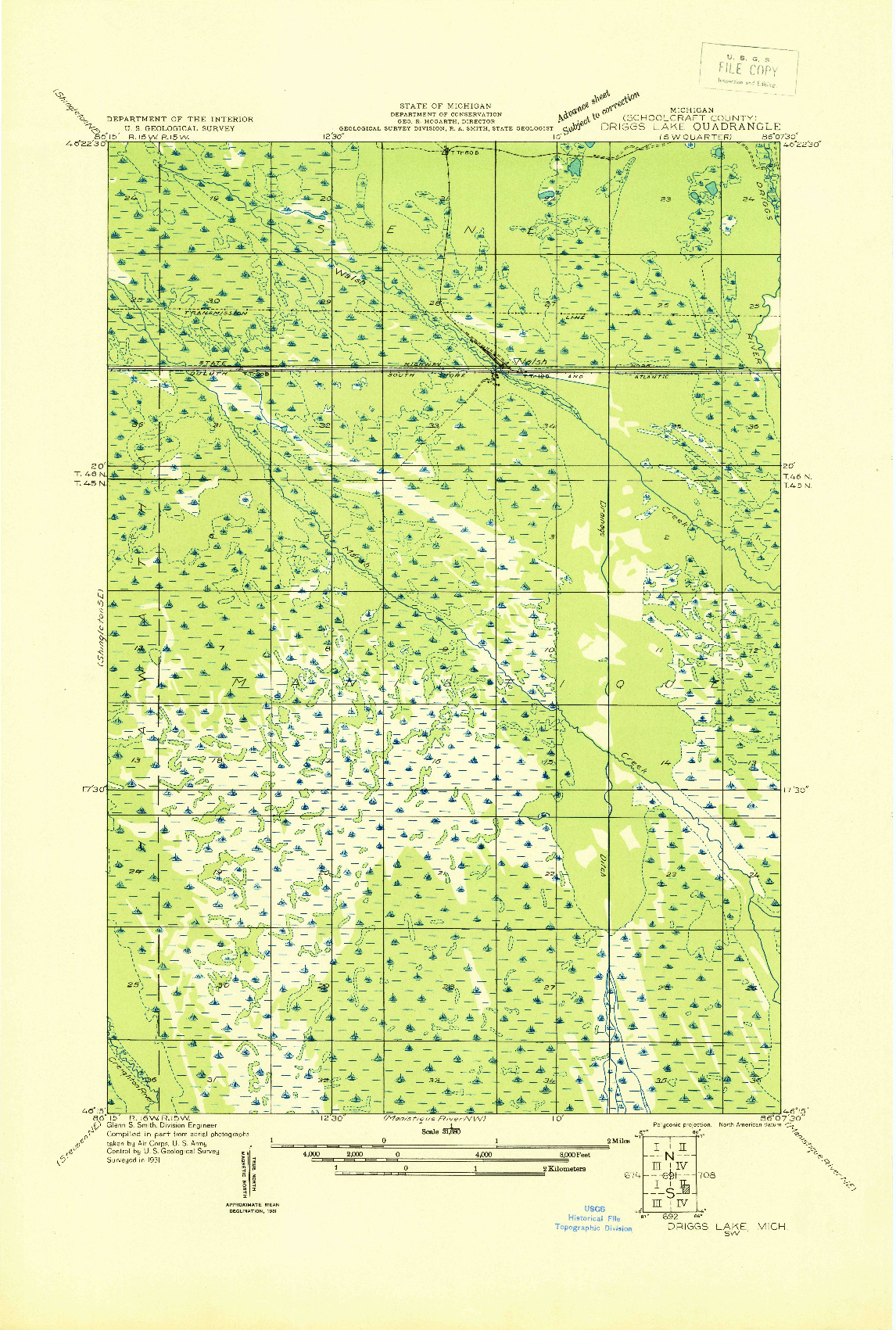 USGS 1:31680-SCALE QUADRANGLE FOR DRIGGS LAKE SW, MI 1931