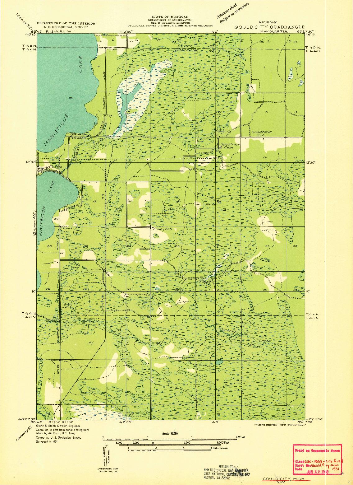 USGS 1:31680-SCALE QUADRANGLE FOR GOULD CITY NW, MI 1931