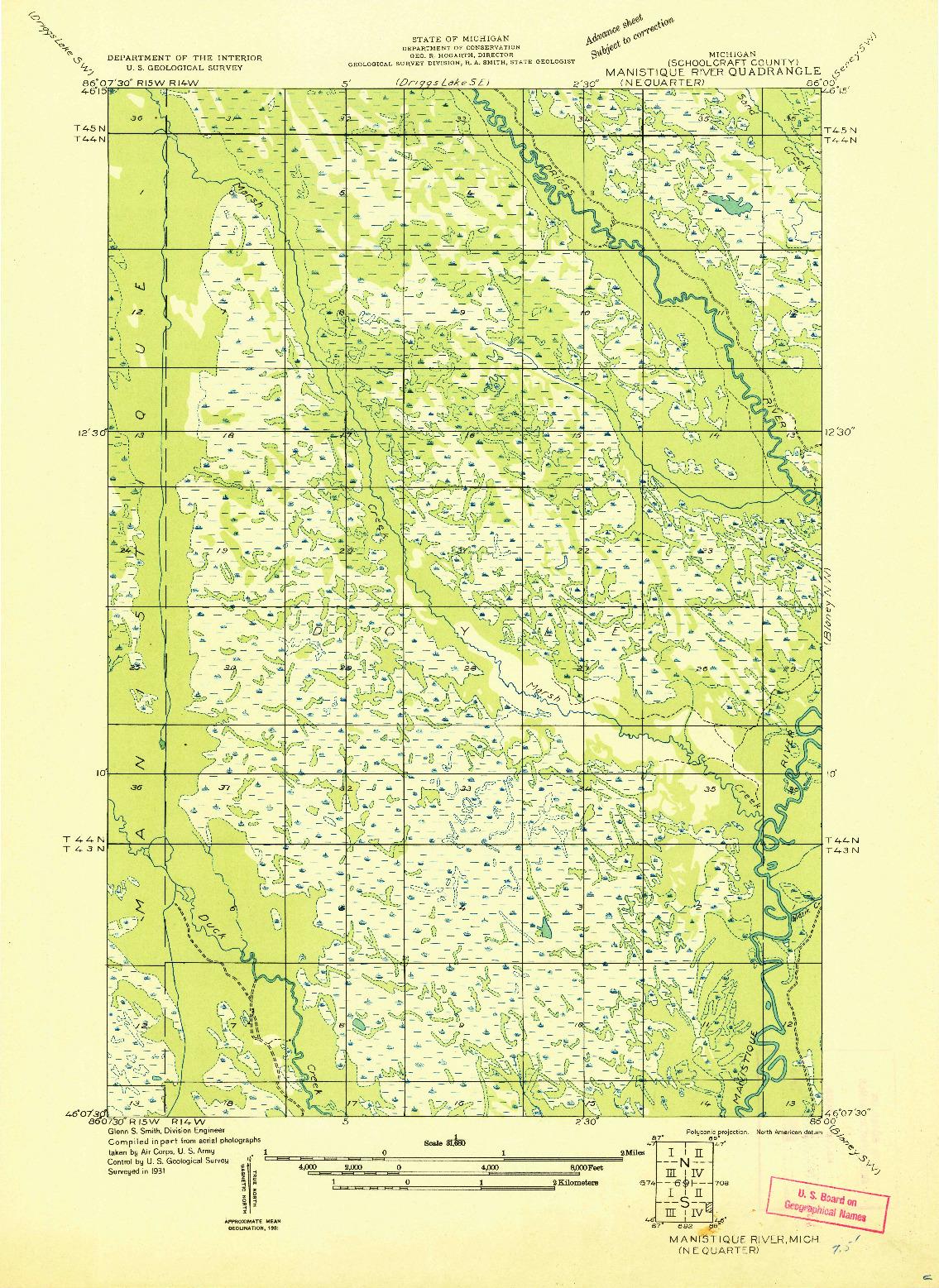 USGS 1:31680-SCALE QUADRANGLE FOR MANISTIQUE RIVER NE, MI 1931