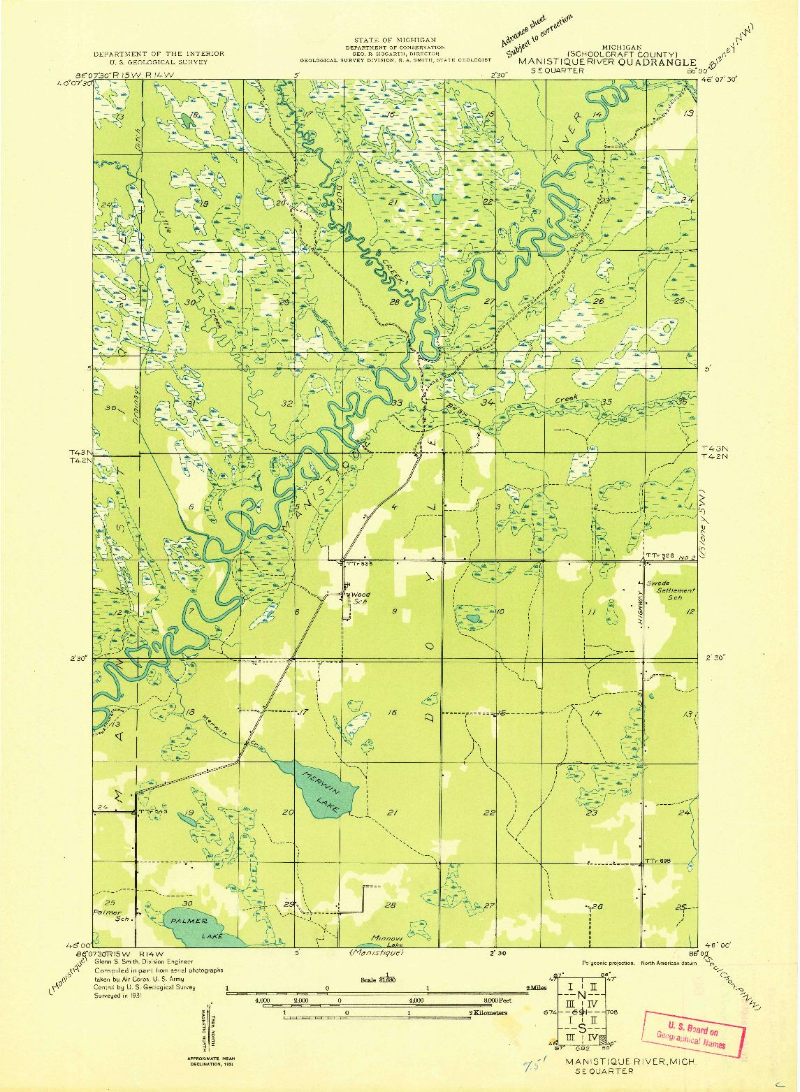 USGS 1:31680-SCALE QUADRANGLE FOR MANISTIQUE RIVER SE, MI 1931