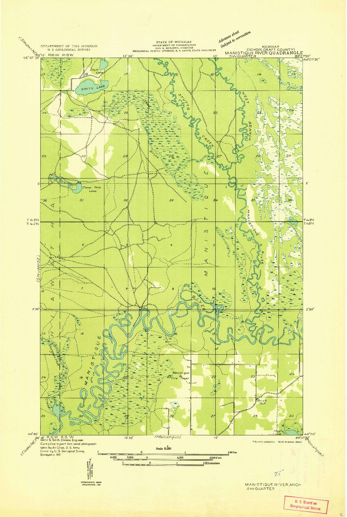 USGS 1:31680-SCALE QUADRANGLE FOR MANISTIQUE RIVER SW, MI 1931