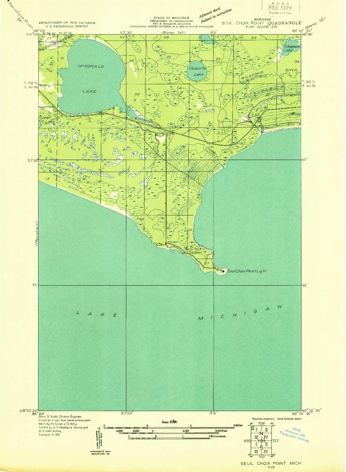 USGS 1:31680-SCALE QUADRANGLE FOR SEUL CHOIX POINT NW, MI 1931