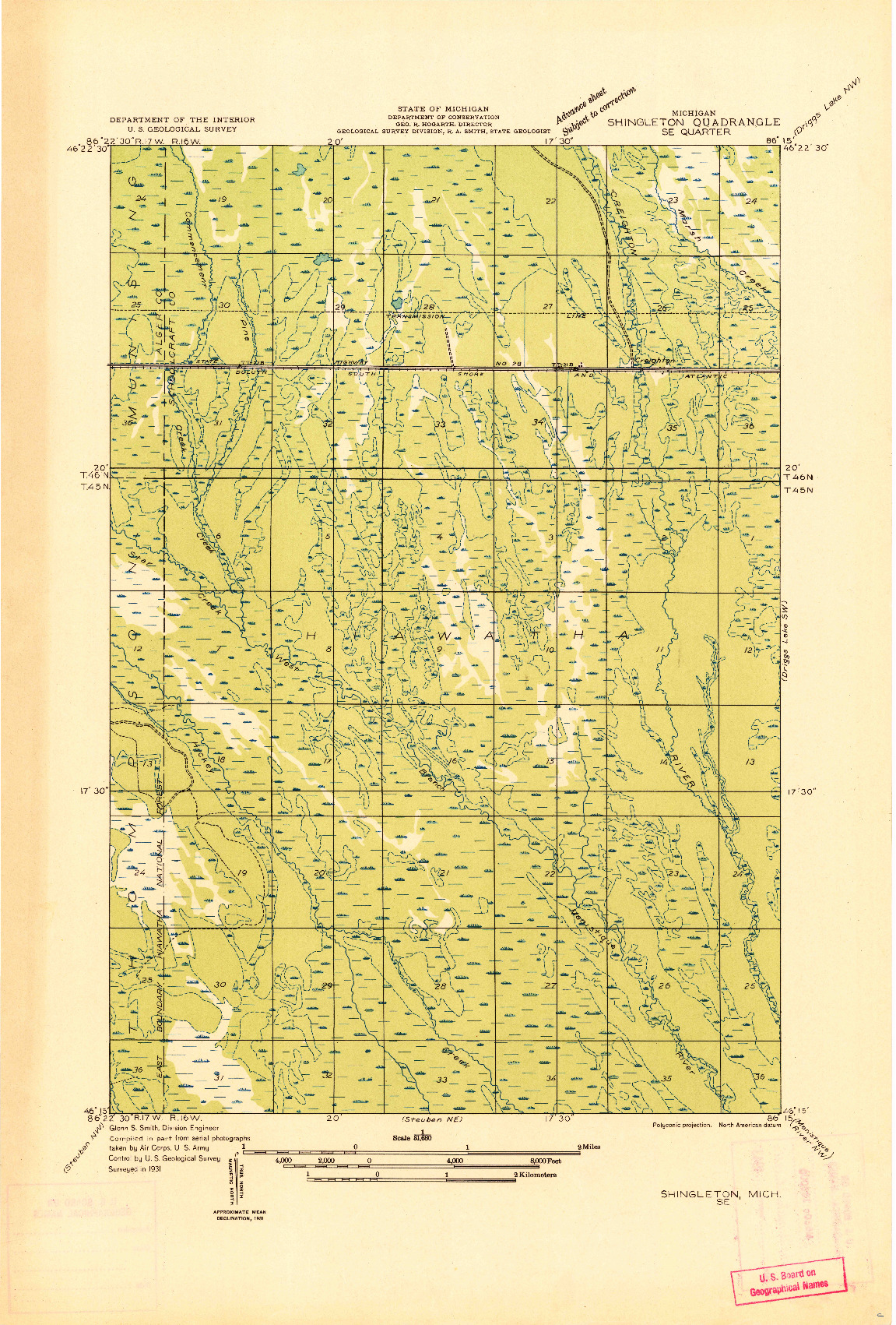 USGS 1:31680-SCALE QUADRANGLE FOR SHINGLETON SE, MI 1931