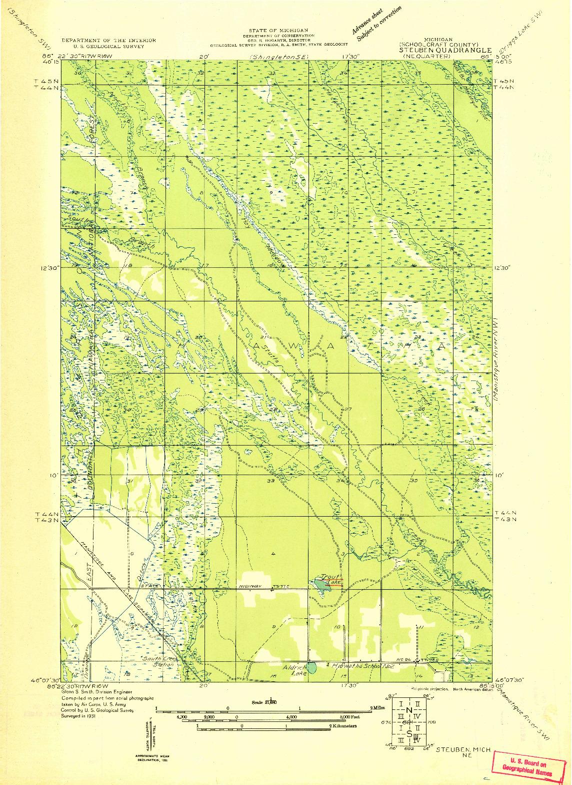 USGS 1:31680-SCALE QUADRANGLE FOR STEUBEN NE, MI 1931