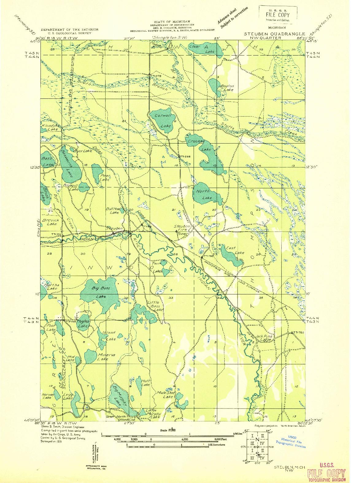 USGS 1:31680-SCALE QUADRANGLE FOR STEUBEN NW, MI 1931