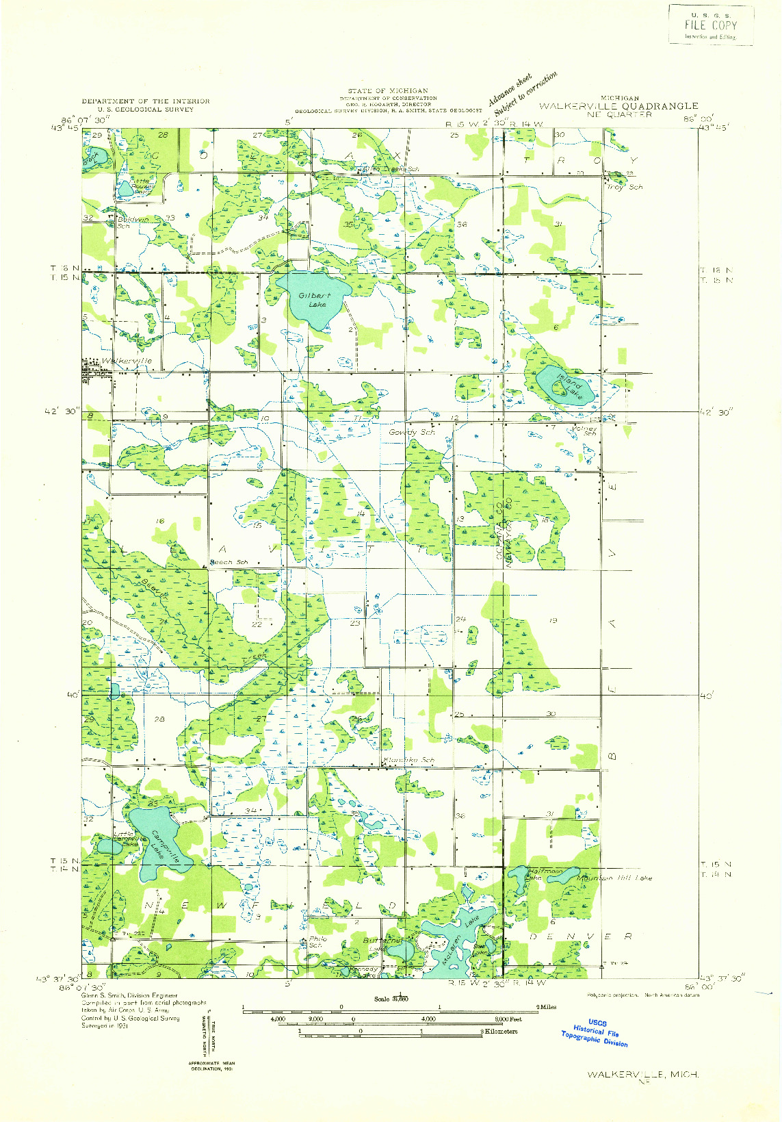 USGS 1:31680-SCALE QUADRANGLE FOR WALKERVILLE NE, MI 1931
