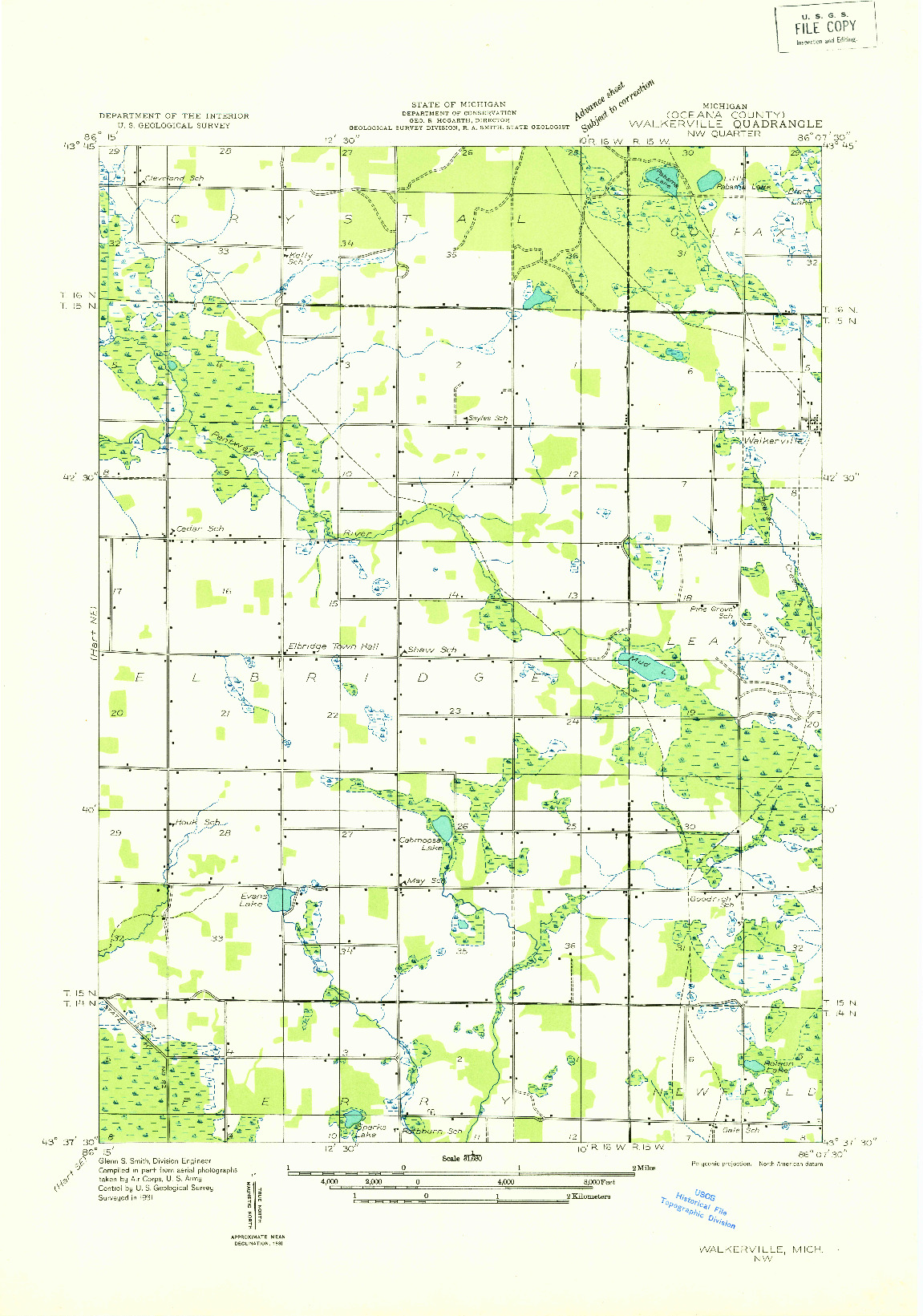 USGS 1:31680-SCALE QUADRANGLE FOR WALKERVILLE NW, MI 1931