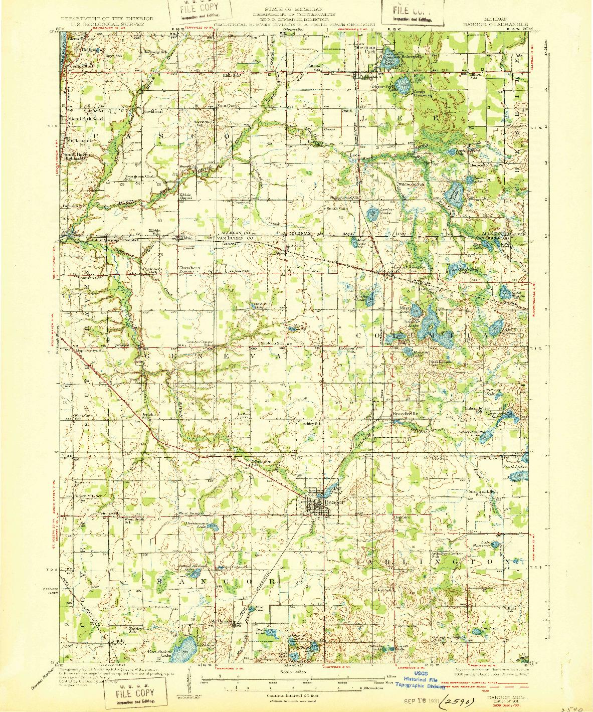 USGS 1:62500-SCALE QUADRANGLE FOR BANGOR, MI 1931