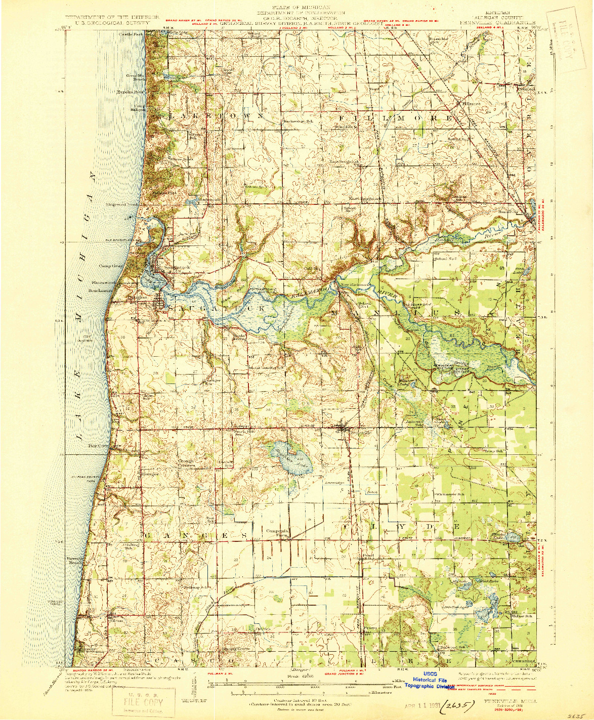 USGS 1:62500-SCALE QUADRANGLE FOR FENNVILLE, MI 1931