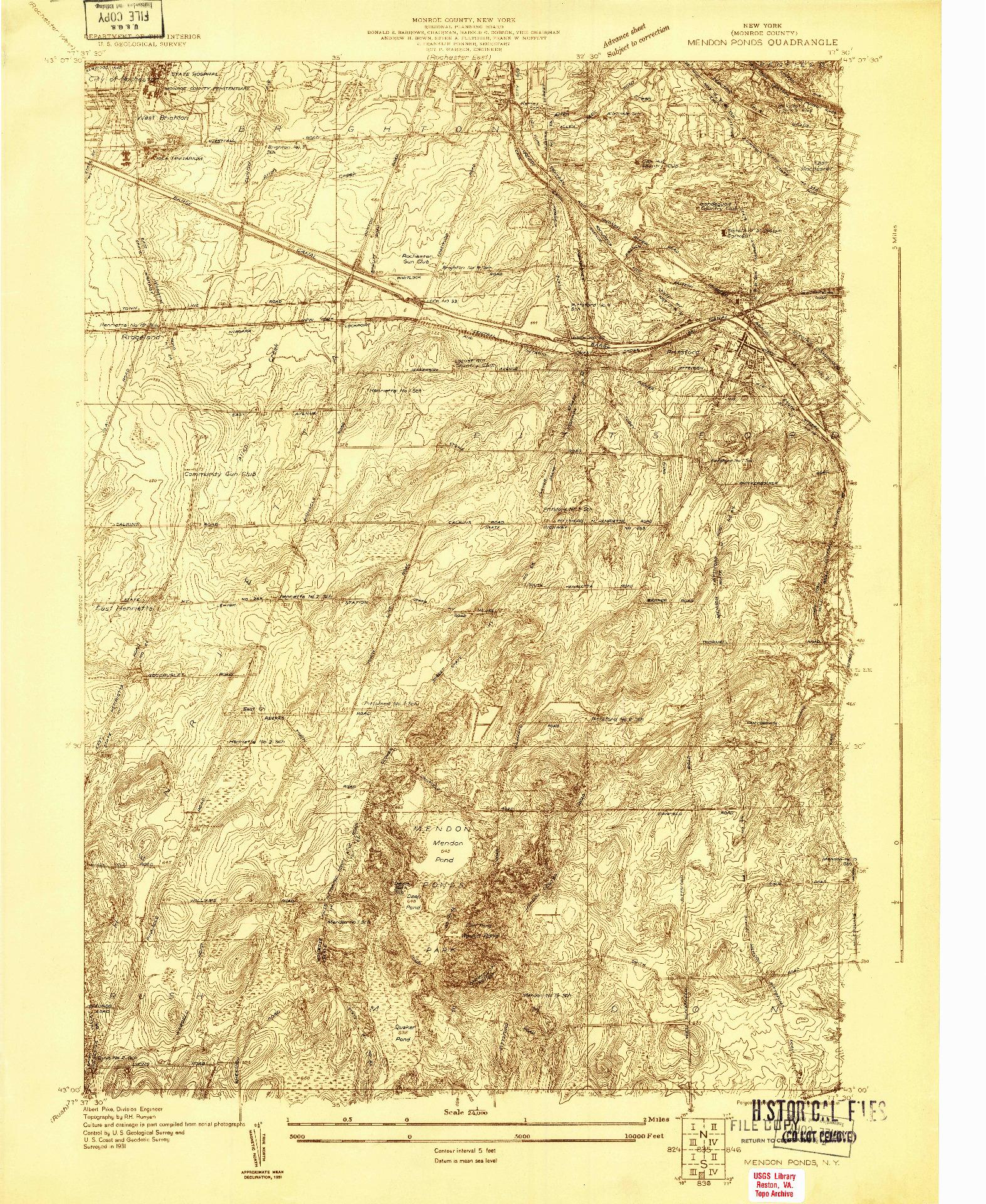 USGS 1:24000-SCALE QUADRANGLE FOR MENDON PONDS, NY 1931